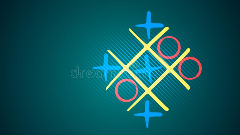 Tic-tac toe game in the turquoise backdrop stock photo