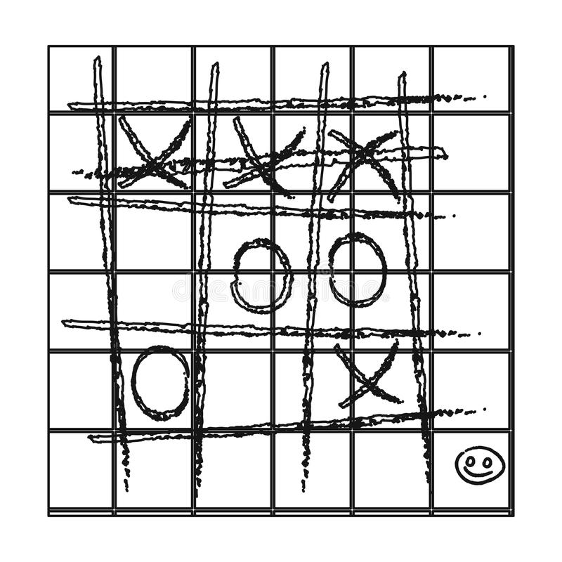 Tic-tac-toe icon in outline style isolated on white background. Board games symbol stock vector illustration. Tic-tac-toe icon in outline style isolated on vector illustration