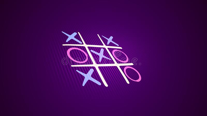 Tic-tac toe picture in the violet backdrop. Hilarious 3d illustration of a noughts and crosses game with a white grid, pink and blue marks and an original end stock illustration