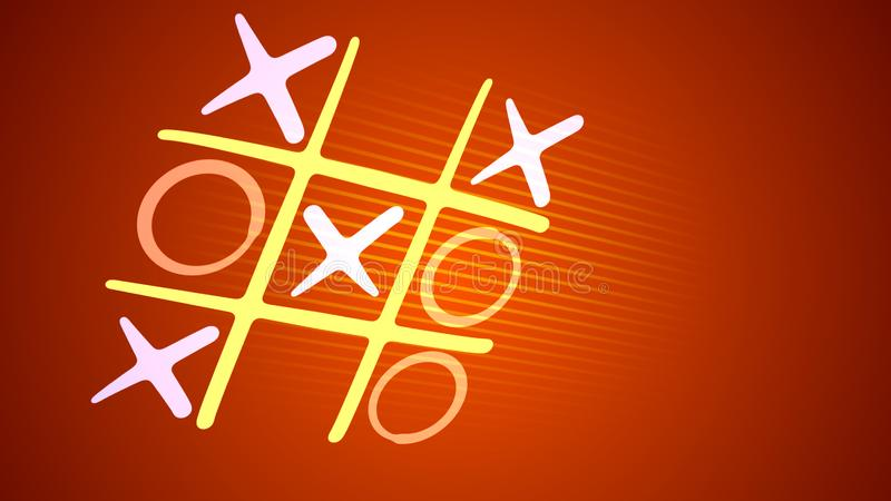 Tic-tac toe play in the brown backdrop. Hilarious 3d illustration of a noughts and crosses play with a white grid, pink and blue marks and an original end with a stock illustration