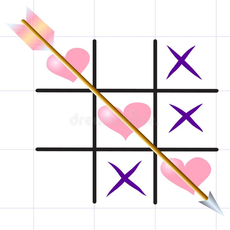 Tic-TAC-Zehe ` Liebesspiel ` auf dem Blattblatt vektor abbildung