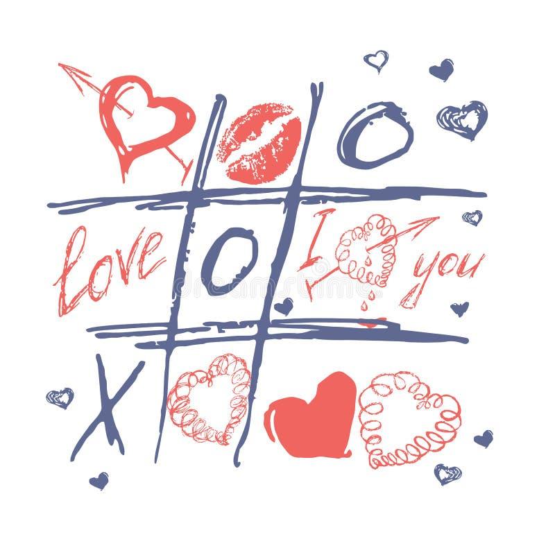 Tic tac-Zehe, Valentinsgrußtagesliebeshintergrund lizenzfreie abbildung