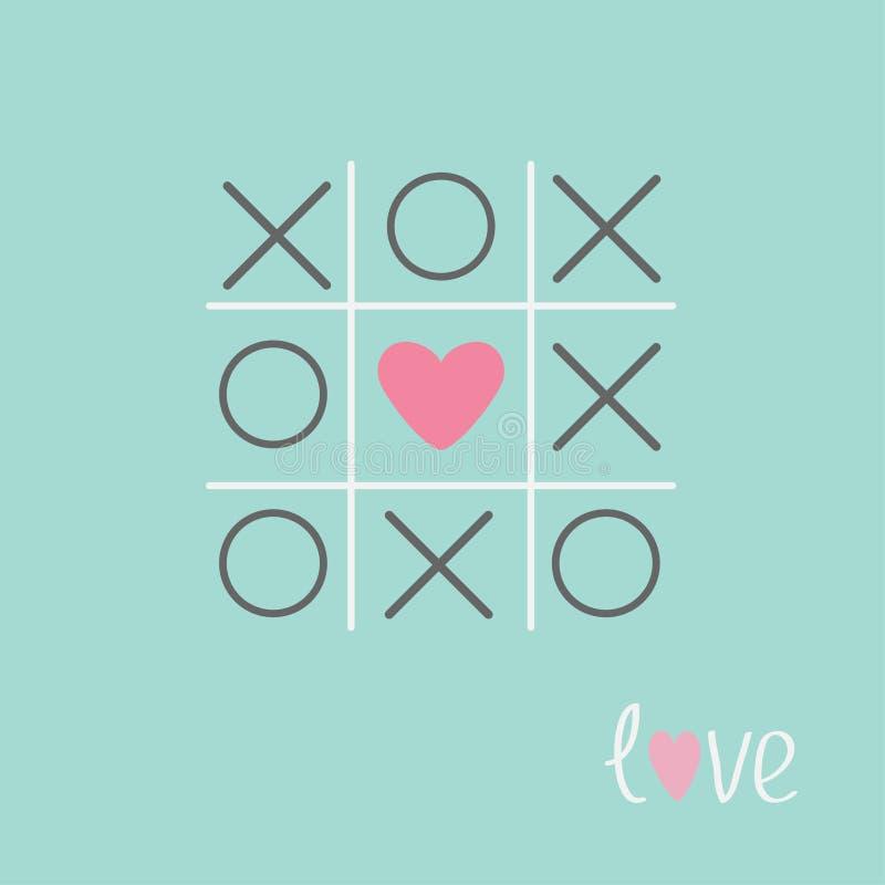 Tic tac-Zehenspiel mit Kreuz und Herz unterzeichnen blaues flaches Design der Kennzeichen Liebes-Karte vektor abbildung