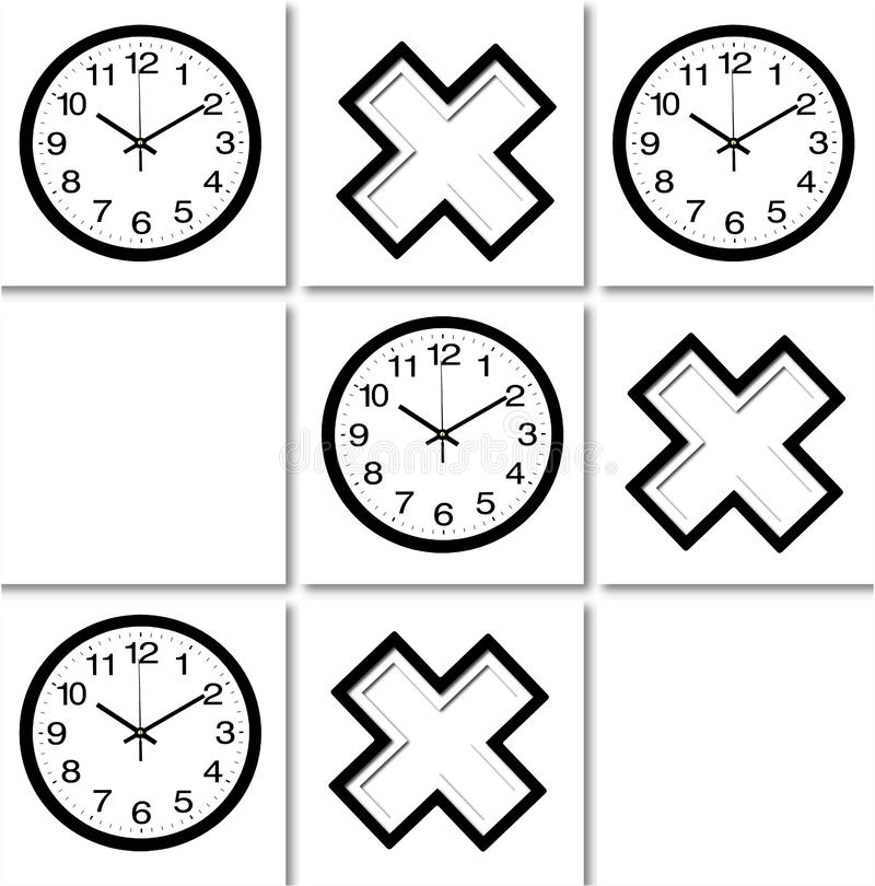 Tic tat toe wall clock. A tic tac toe pattern made of images of black and white layered crosses and wall clocks on white tile background. Illustration art royalty free illustration