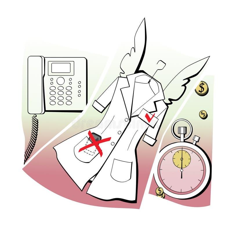 ?ticas incorporadas Uniformes com asas do anjo, sincronismo, acessibilidade Uma comunica??o interna, cron?metro e veste branca Me ilustração royalty free