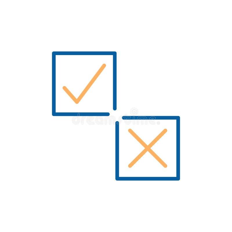 Ticchetti ed attraversi su una linea sottile icone di vettore della scatola quadrata illustrazione vettoriale
