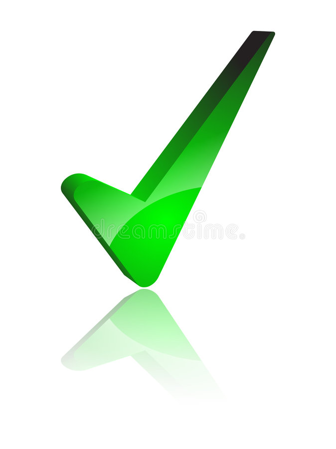 Tick. A big green gradient tick vector illustration