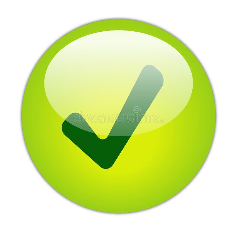 Tick Button. The Glassy Green Tick Icon Button