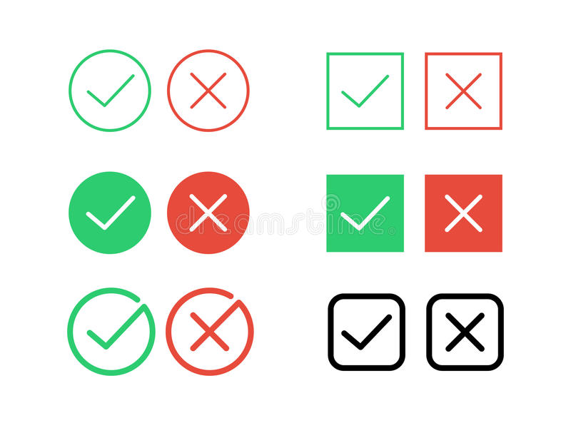 Tick check mark and decline cross vector icons for internet buttons. Green tick check mark and cancel decline red cross vector icons for internet buttons or web stock illustration