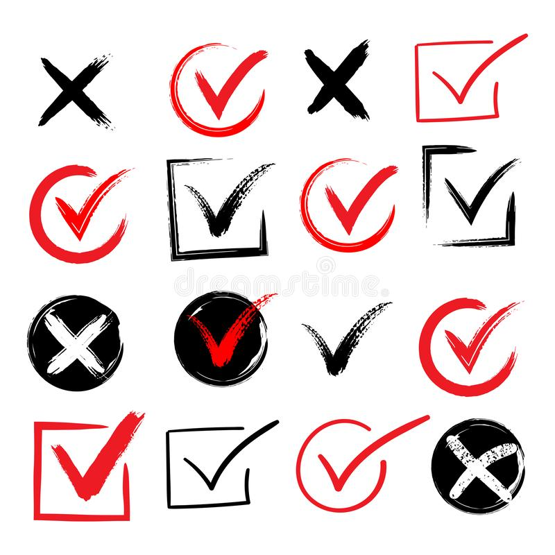 Tick and cross brush signs. Green checkmark OK and red X icons, isolated on white background. Simple marks graphic. Design. Symbols YES and NO button for vote royalty free illustration