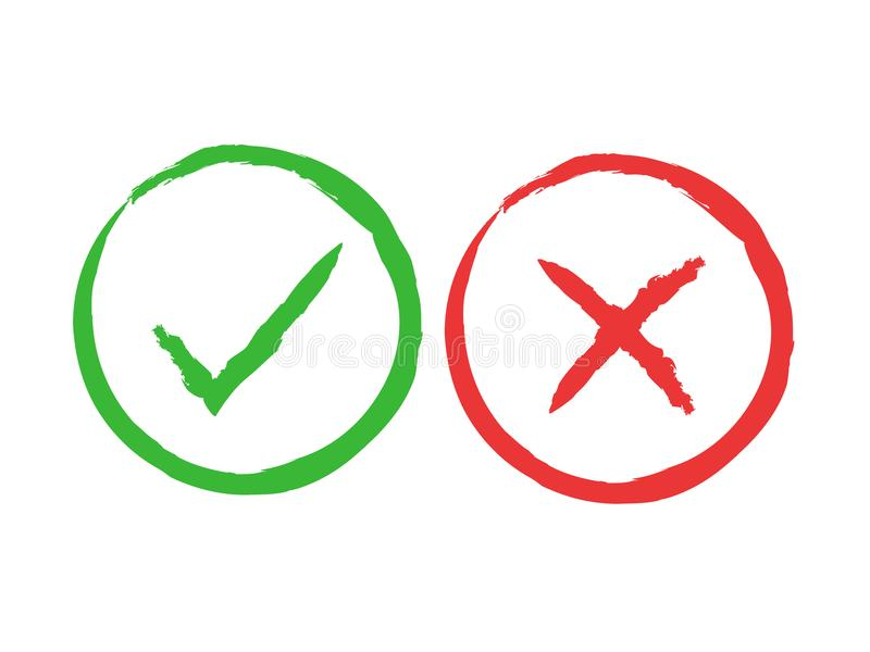 Tick and cross brush signs. Green checkmark OK and red X icons, isolated on white background. Simple marks graphic royalty free illustration