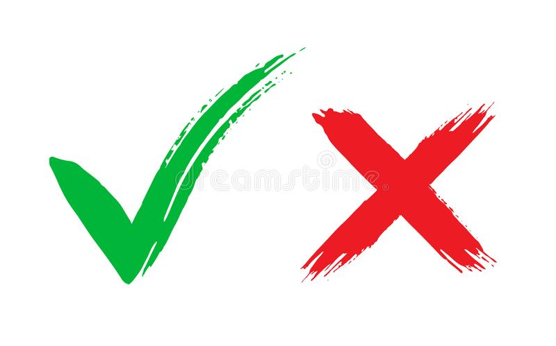 Tick and cross brush signs. Green checkmark OK and red X icons, isolated on white background. Symbols YES and NO button vector illustration