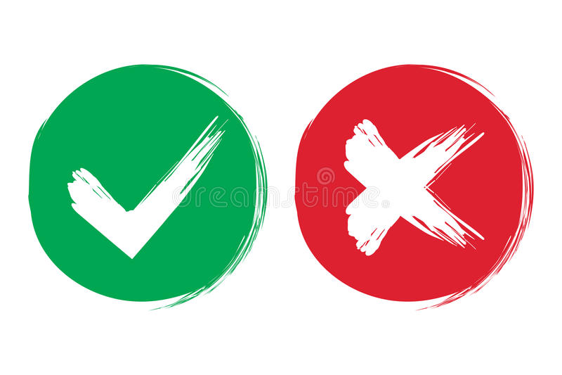 Tick and cross brush signs. Green checkmark OK and red X icons, on white background. Simple marks graphic design. Symbols. YES and NO button for vote, decision stock illustration