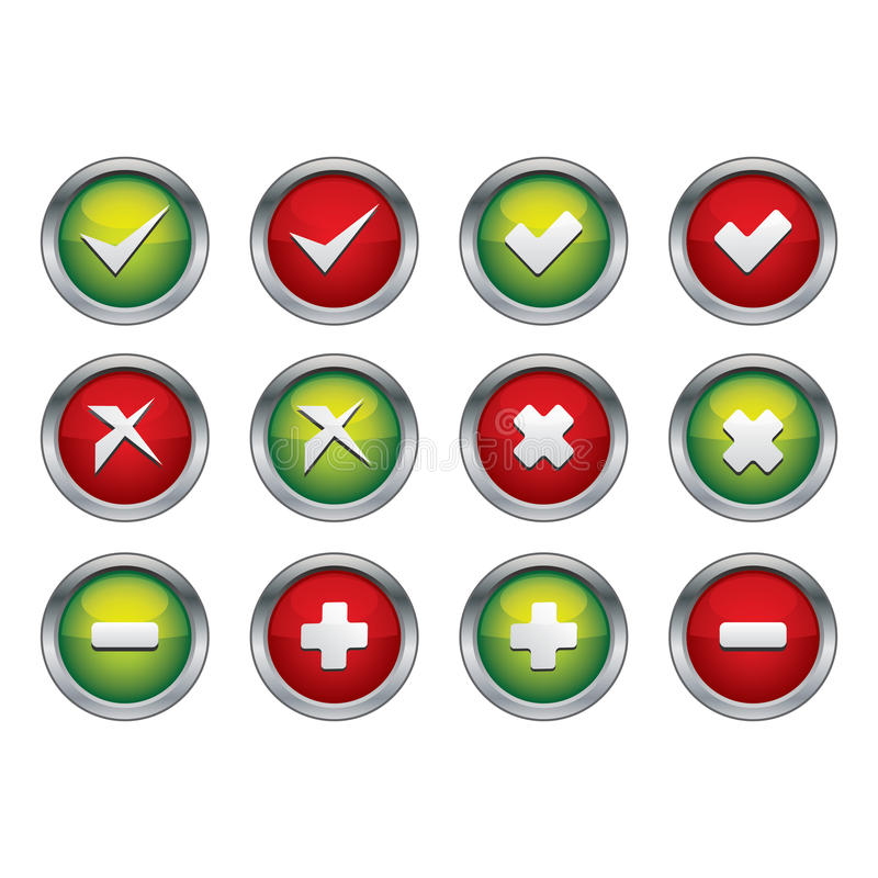 Tick and cross button stock illustration