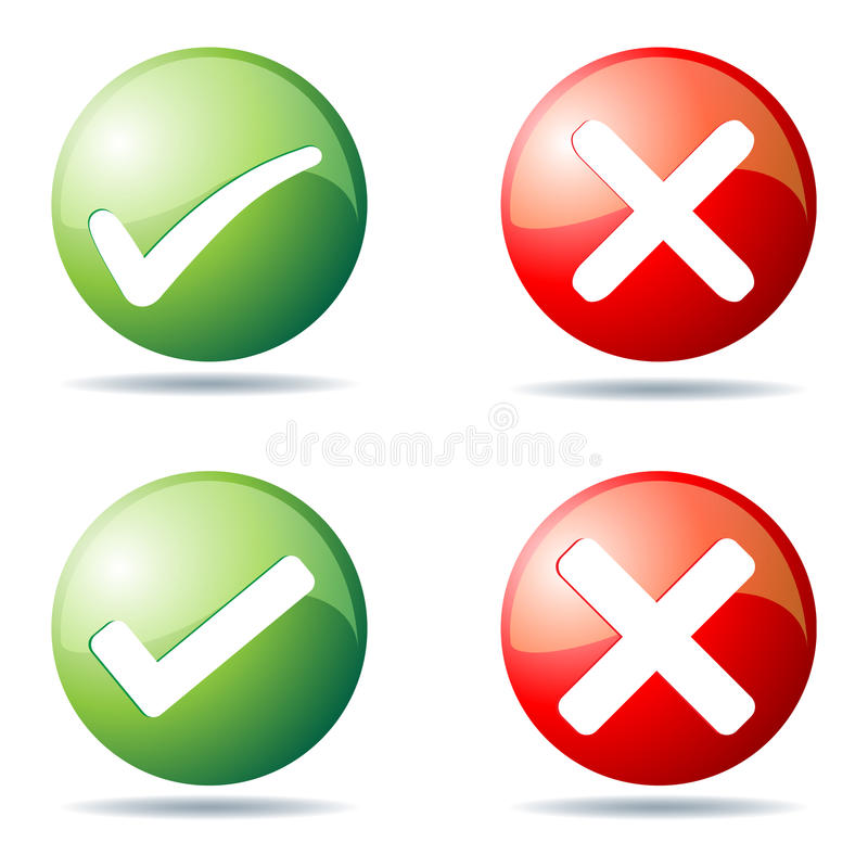 Download Tick and cross buttons stock vector. Image of close, decline - 22457298