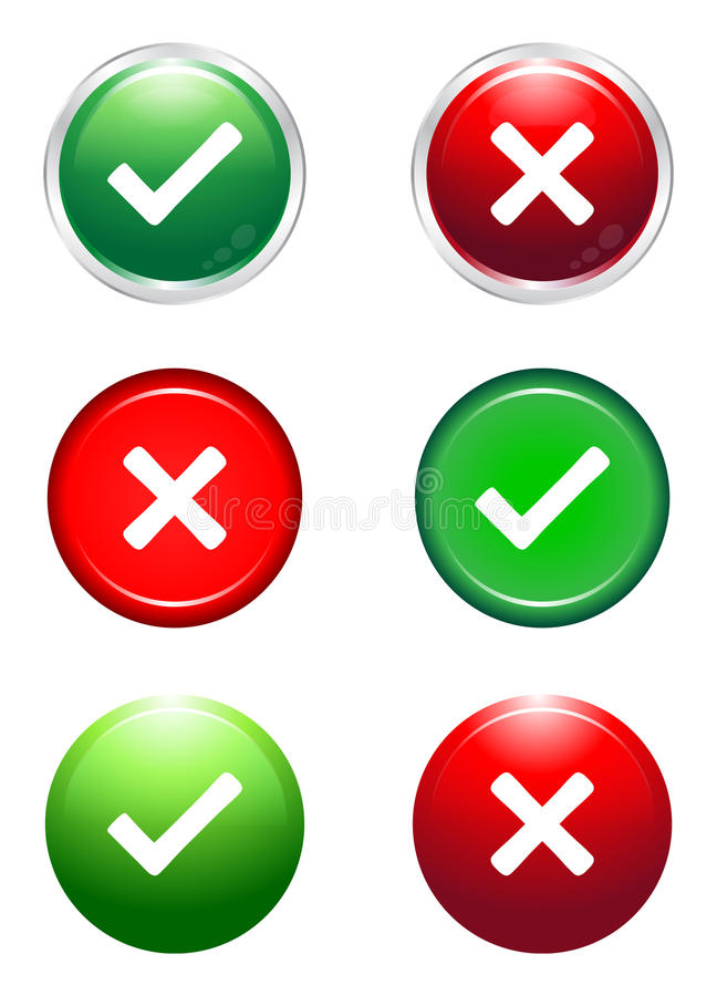 Tick and cross buttons vector illustration