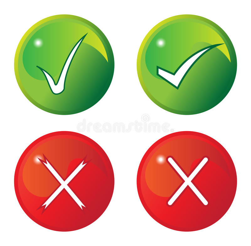 Download Tick And Cross Buttons stock vector. Illustration of buttons - 43447570