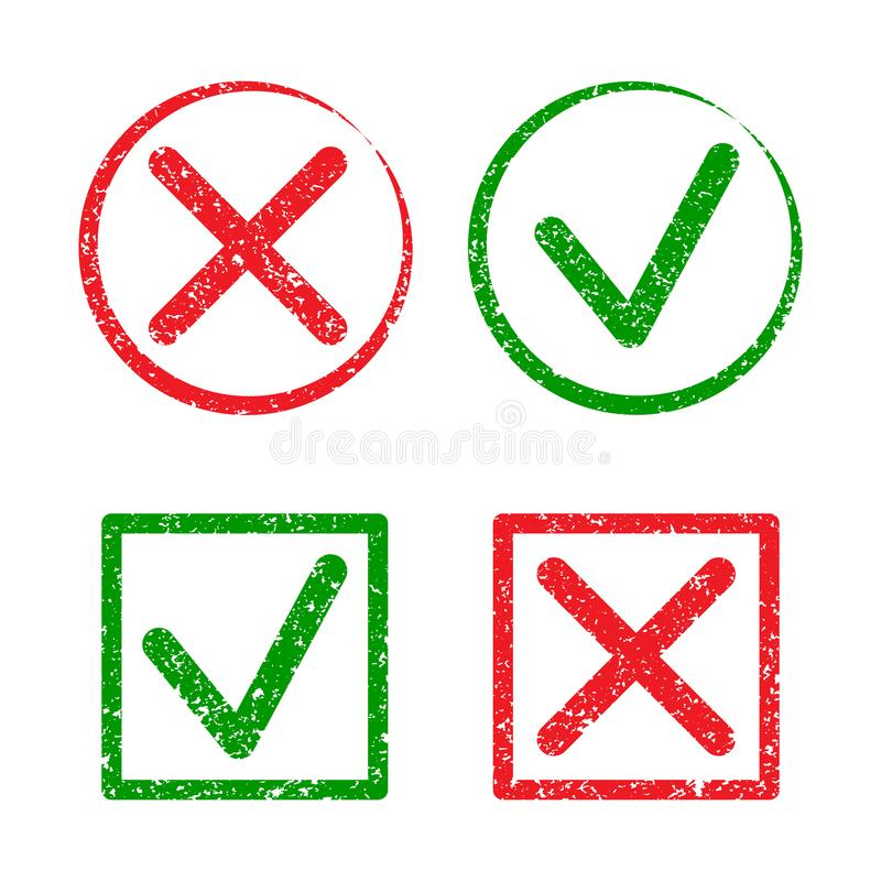 Tick and cross grunge rubber stamp solated on white background.  GREEN TICK  AND RED CROSS.  Four stamps frames. vector illustration