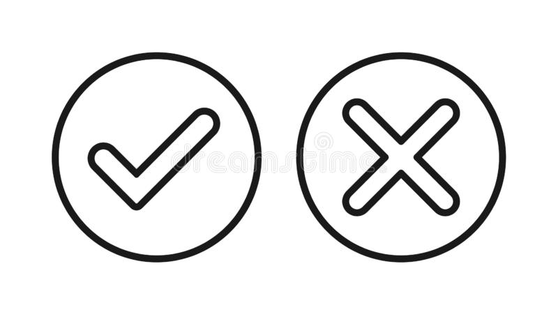 Tick and cross icon royalty free illustration