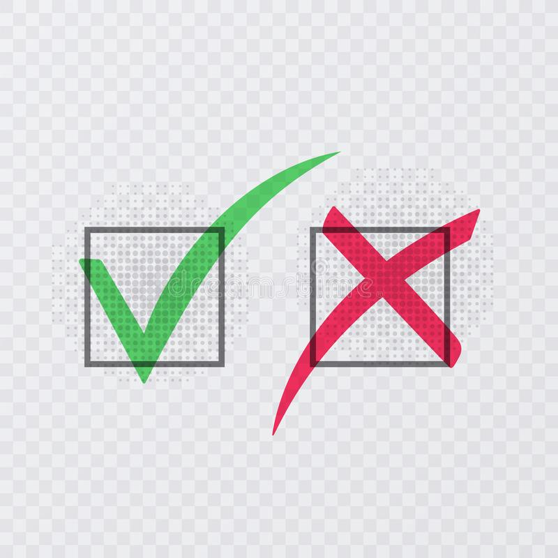Tick and cross signs. Green checkmark OK and red X icons, isolated on transparent background. Vector illustration. Tick and cross signs. Green checkmark OK and vector illustration