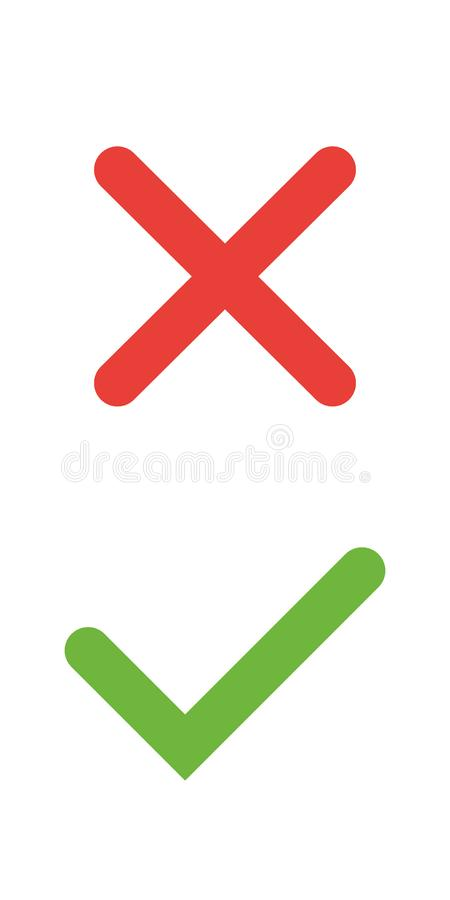 Tick and cross signs. Green checkmark OK and red X icons, isolated on white background. Simple marks graphic design. Symbols YES and NO button for vote stock illustration