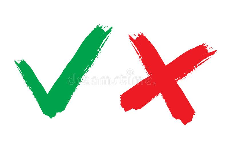 Tick and cross signs. Green checkmark OK and red X icons, isolated on white background. Simple marks graphic design. Circle symbols YES and NO button for vote vector illustration
