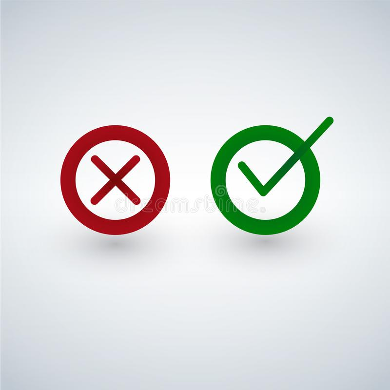 Tick and cross signs. Green checkmark OK and red X icons, isolated on white background. stock illustration