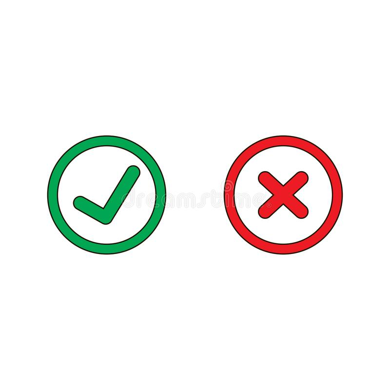 Tick and cross signs. Green checkmark OK and red X icons, isolated on white background vector illustration