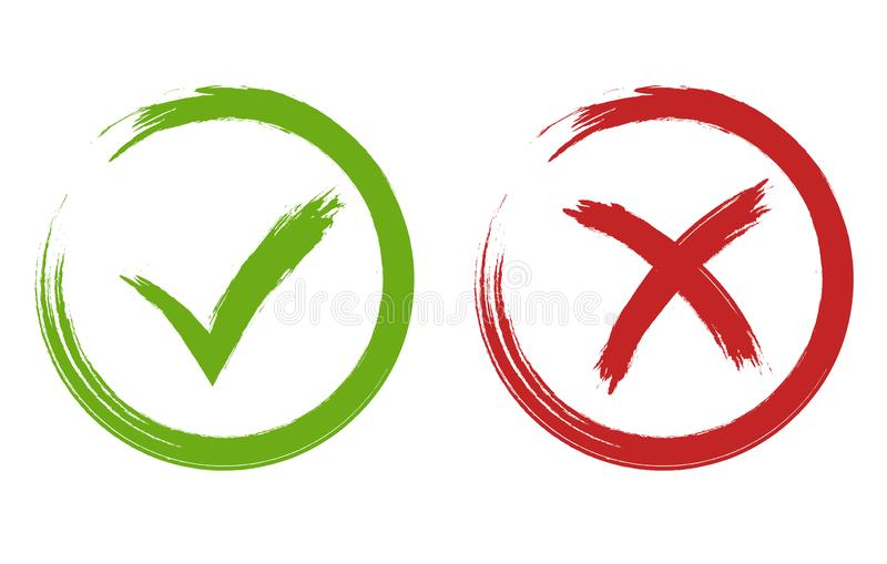 Tick and cross signs. Green and red checkmark vector vector illustration