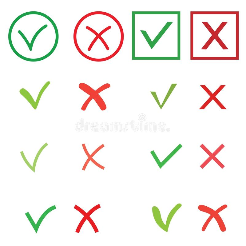Tick and cross signs set. Green checkmark OK and red X icons, isolated on white background. Circle shape symbols YES and royalty free illustration
