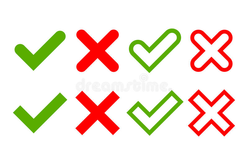 Tick and cross signs simple vector illustration