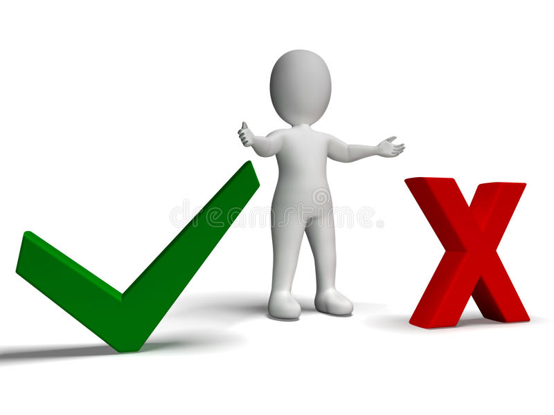 Download Tick And Cross Symbols In Front Shows Choice Or Decision Stock Illustration - Image: 32071798
