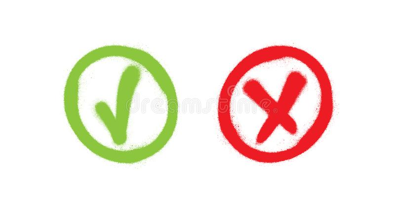 Tick and cross. Test. Choice. Graffiti signs. Approved tick and rejected cross. Voting button. Green and red check marks. royalty free illustration