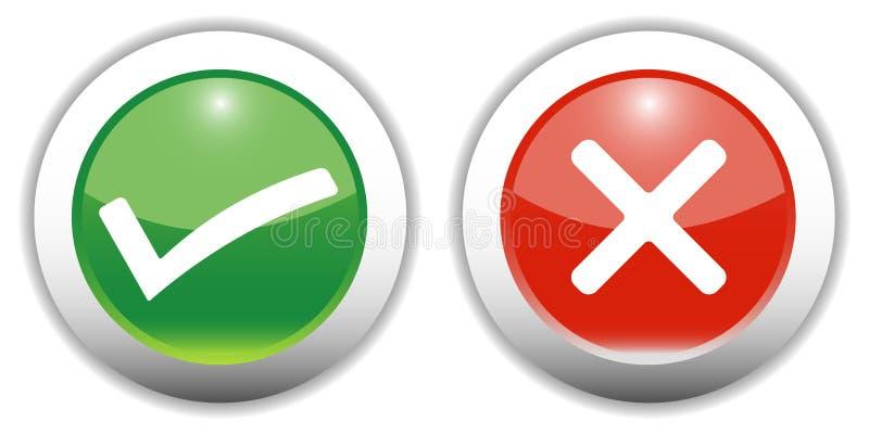 Tick & Cross Web Buttons vector illustration