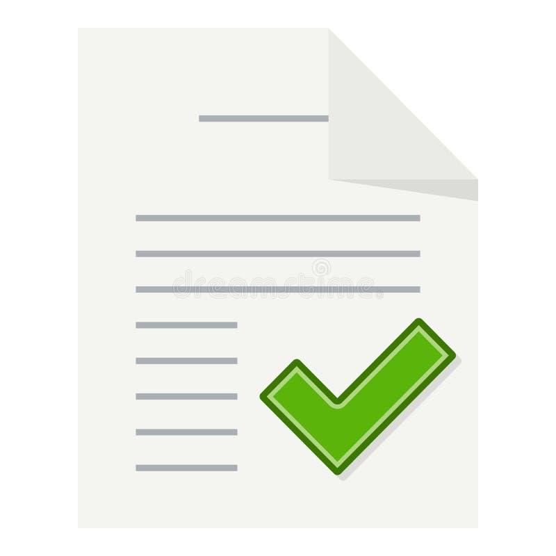 Tick Document Flat Icon Isolated en blanco ilustración del vector
