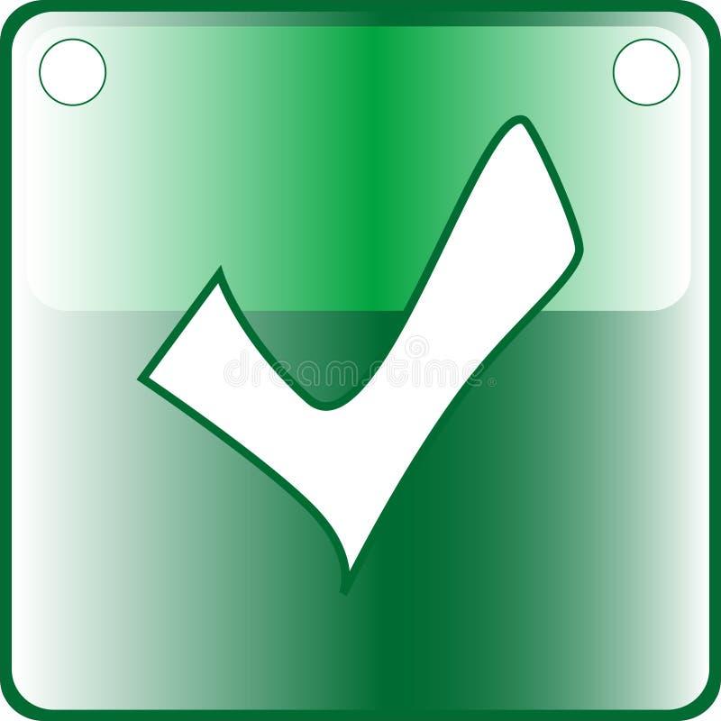TICK green Button Web icon vector illustration