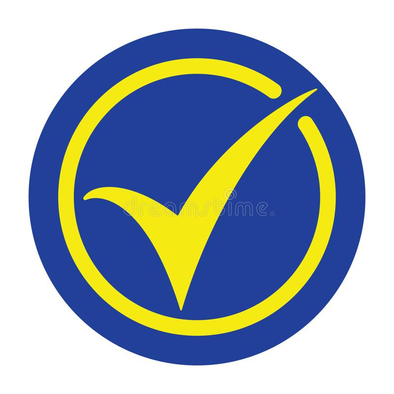 Tick icon vector symbol, accept button, checkmark, OK icon in yellow and blue colors. Vector illustration on white background stock illustration