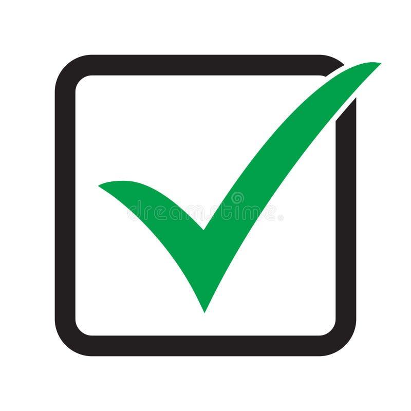 Tick icon vector symbol, checkmark isolated on white background. Check list button icon. Check mark icon in square sign. stock illustration