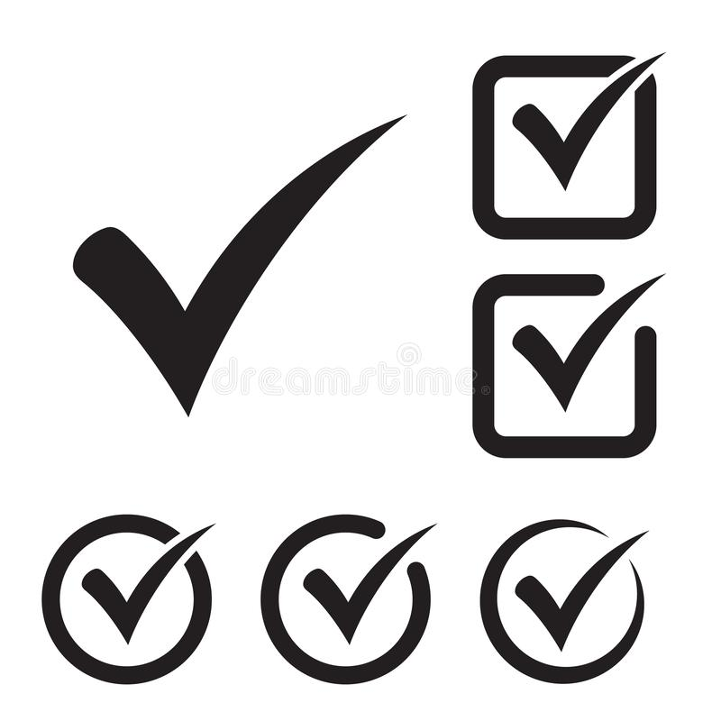 Black tick icon vector symbol, checkmark isolated on white background, checked icon or correct choice sign, check mark or checkbox. Pictogram. Vector vector illustration