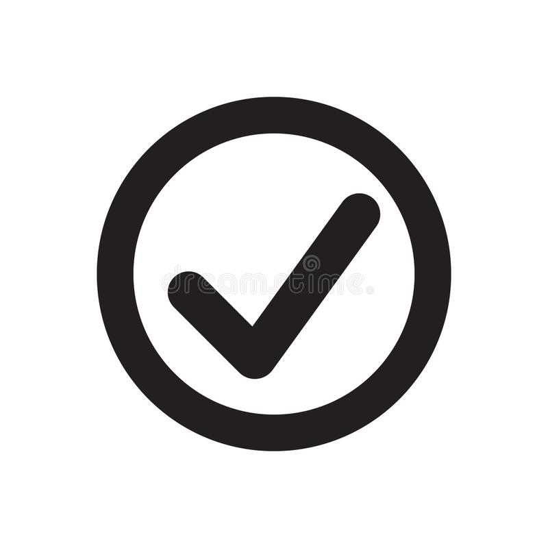 Tick icon vector symbol, checkmark isolated on white background, checked icon or correct choice sign, check mark vector illustration