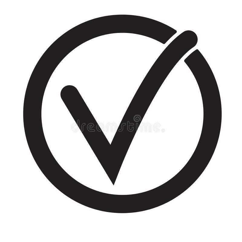 Tick icon vector symbol, checkmark isolated on white background, checked icon or correct choice sign, check mark or checkbox. Pictogram. Vector illustration on vector illustration