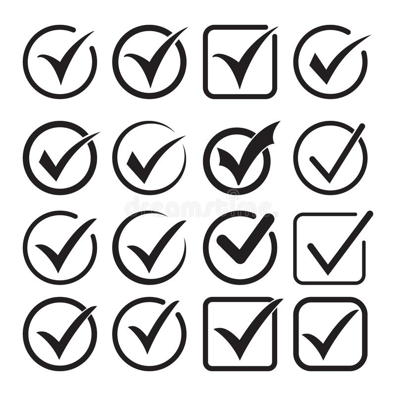 Tick icon vector symbol, checkmark isolated on white background, checked icon or correct choice sign, check mark. Or checkbox pictogram. Vector illustration on vector illustration