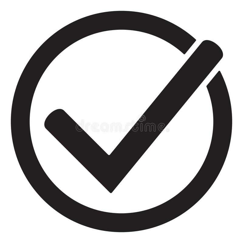 Tick icon vector symbol, checkmark isolated on white background, checked icon or correct choice sign, check mark or checkbox picto. Gram. vector illustration on stock illustration