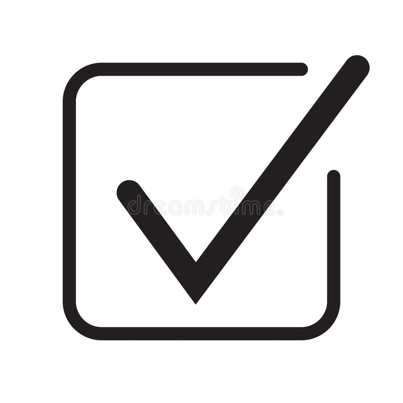 Tick icon vector symbol, checkmark isolated on white background, checked icon or correct choice sign, check mark or checkbox picto royalty free illustration