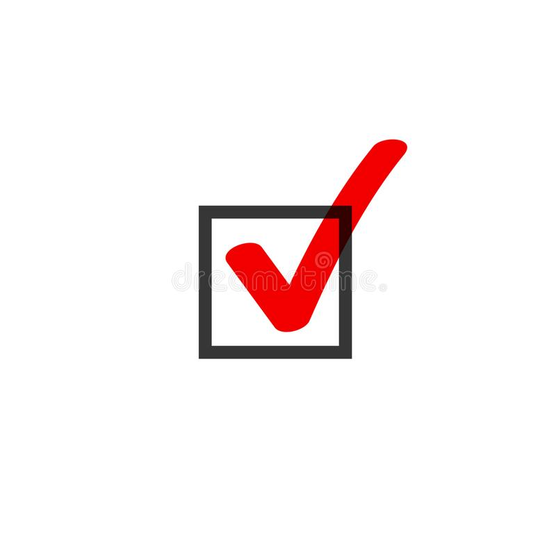 Tick icon vector symbol doodle style, red checkmark isolated on white background, checked icon, correct choice sign in vector illustration
