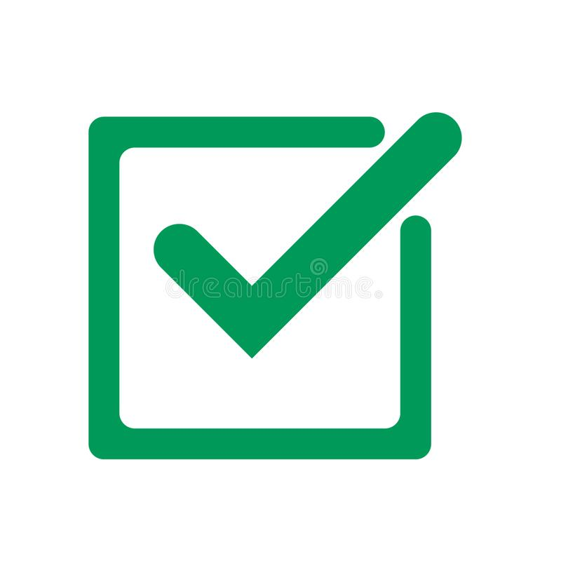 Tick icon vector symbol, green checkmark isolated on white background, check mark or checkbox pictogram royalty free illustration