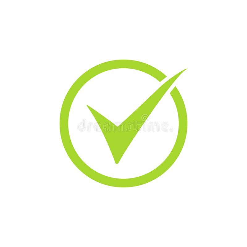 Tick icon vector symbol, green checkmark isolated on white background, checked icon or correct choice sign, check mark or checkbox. Pictogram royalty free illustration