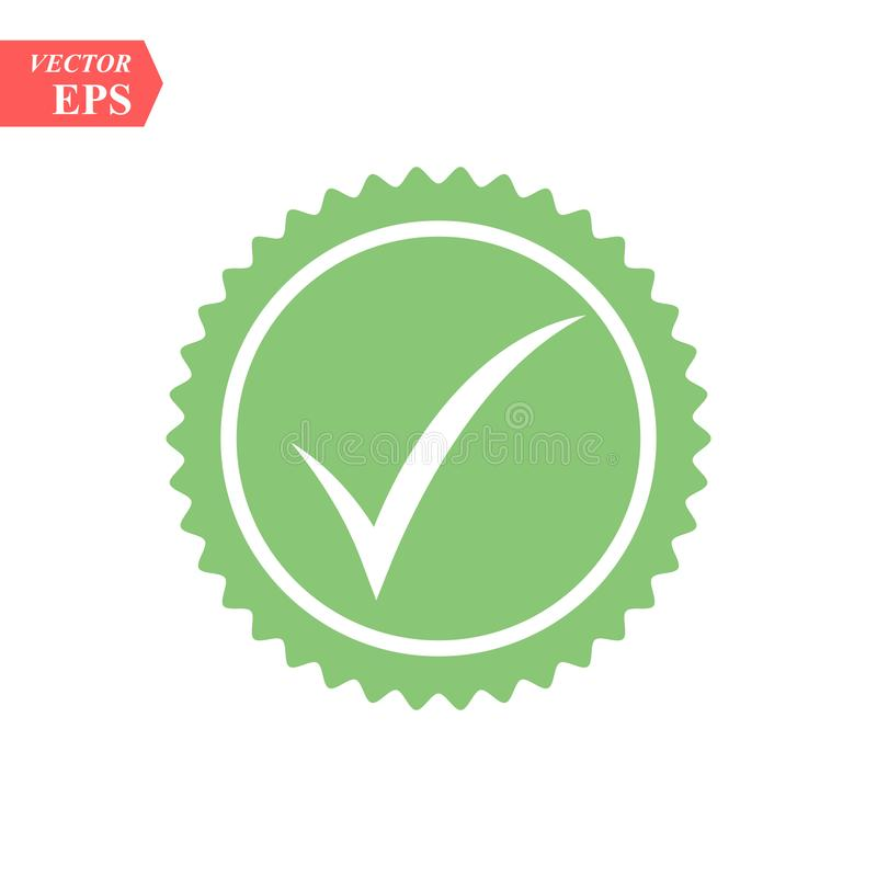 Tick icon vector symbol, green checkmark isolated on white background, checked icon or correct choice sign, check mark royalty free illustration