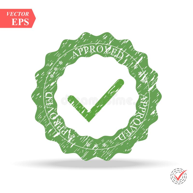 Tick icon vector symbol, green checkmark isolated on white background, checked icon or correct choice sign, check mark vector illustration