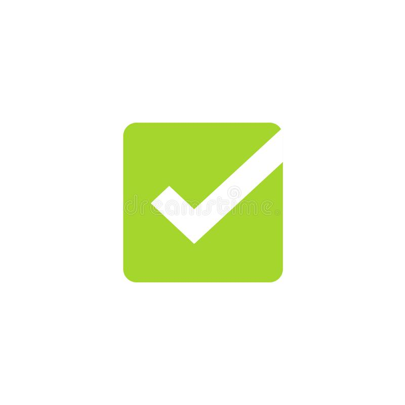 Tick icon vector symbol, green square checkmark isolated on white background, checked icon or correct choice sign, check royalty free illustration